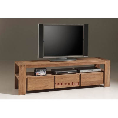 Tv Drawer Units With Well Known 3 Drawer Stylish Tv Cabinet Made Of Teakwood (View 17 of 20)