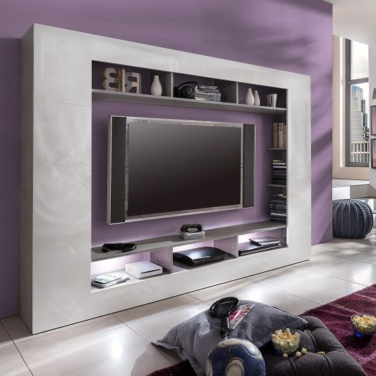 Tv Entertainment Unit Intended For Most Current Rocco Tv Entertainment Unit In White Gloss High Gloss With Led (View 17 of 20)