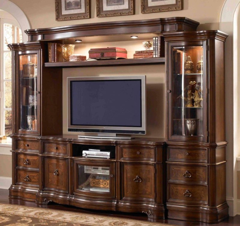 Tv Entertainment Wall Units Regarding Most Current E9100 4 Pc Florenza Ii Dark Wood Finish Tv Entertainment Center Wall (View 17 of 20)