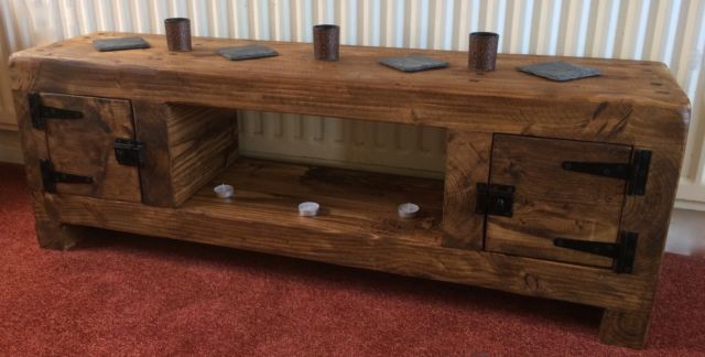 Tv Stand Chunky Rustic Side Table Wooden Sleeper 120Cm Cabinet With Famous Chunky Tv Cabinets (View 17 of 20)