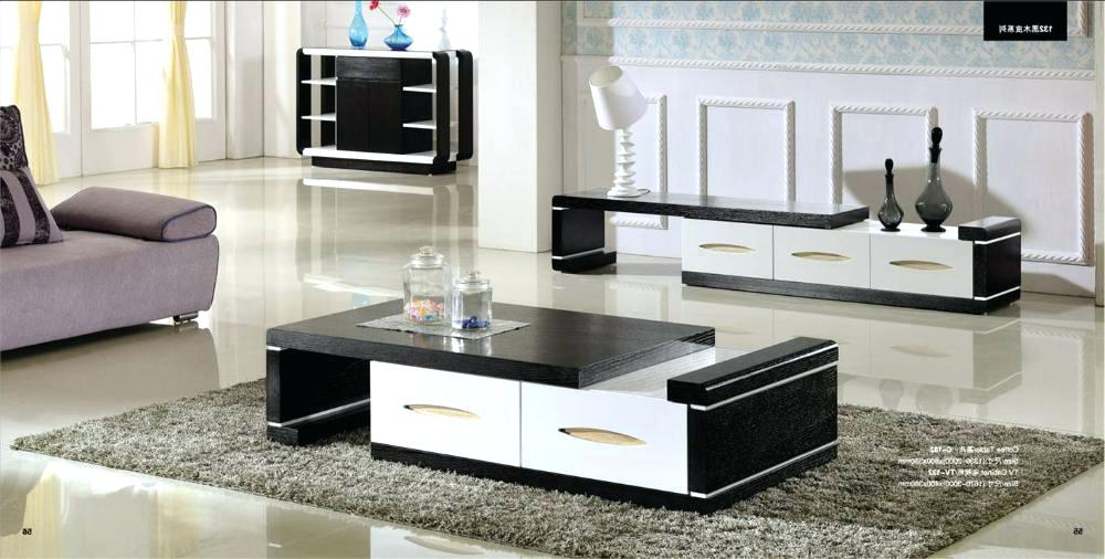 Tv Stand Coffee Table Set Modern Wood Furniture Tea Cabinet Smart With Regard To Well Known Coffee Table And Tv Unit Sets (View 18 of 20)