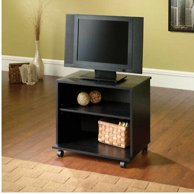 Tv Stand With Wheels 26 Inch Portable Rolling Media Cart Black Wood Throughout Most Popular Small Tv Stands On Wheels (View 4 of 20)