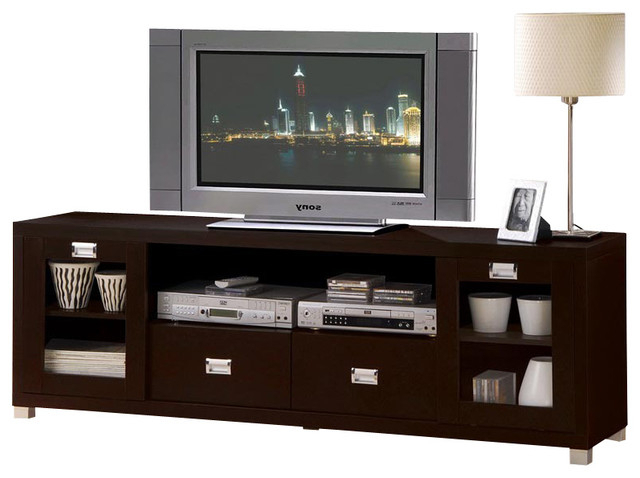 Tv Stands And Cabinets Within Most Recent Contemporary Commerce Espresso Finish Tv Stand Cabinet Entertainment (View 18 of 20)