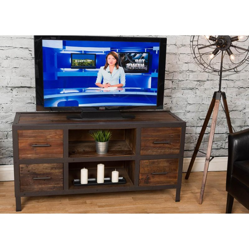 Tv Stands For 55 Inch Tv Regarding Newest Rustic Brown Wooden 55 Inch Tv Stand – Brixton (View 13 of 20)