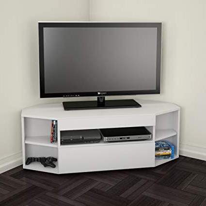 Tv Stands For Corners Within Well Known Amazon: Nexera 226103 Blvd Corner Tv Stand, White: Kitchen & Dining (View 17 of 20)