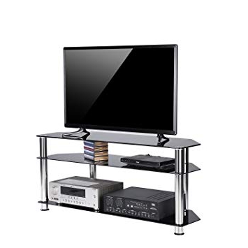 Tv Stands For Tube Tvs With Regard To Most Recently Released Amazon: Rfiver Black Tempered Glass Corner Tv Stand Suit For Led (View 16 of 20)