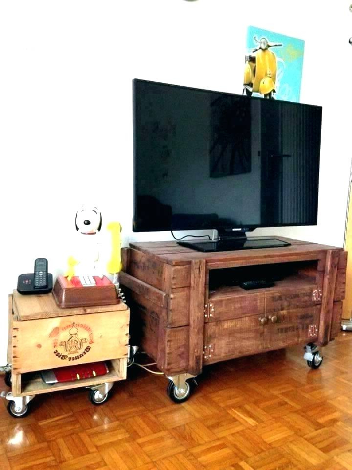 Tv Stands On Wheels For Flat Screens Light Oak Screen Crate Stand Inside Best And Newest Small Tv Stands On Wheels (View 14 of 20)