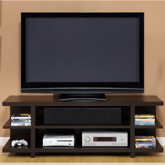 "Tv Stands With Back Panel Throughout Most Popular Tv Stands – Altra Furniture 60"" Hollow Core Tv Stand With Espresso (View 19 of 20)"
