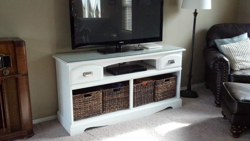 Tv Stands With Baskets Within Best And Newest Tv Stand Makeover – Warmcozyhome (View 5 of 20)