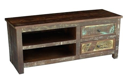 Tv Stands With Drawers And Shelves Throughout Famous Reclaimed Wood Corner Tv Stands Cabinet With Double Drawers And (View 17 of 20)