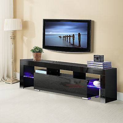 "Tv Stands With Drawers And Shelves With Regard To Preferred 63"" High Gloss Tv Stand Unit Cabinet With Led Shelves 2 Drawer (View 18 of 20)"