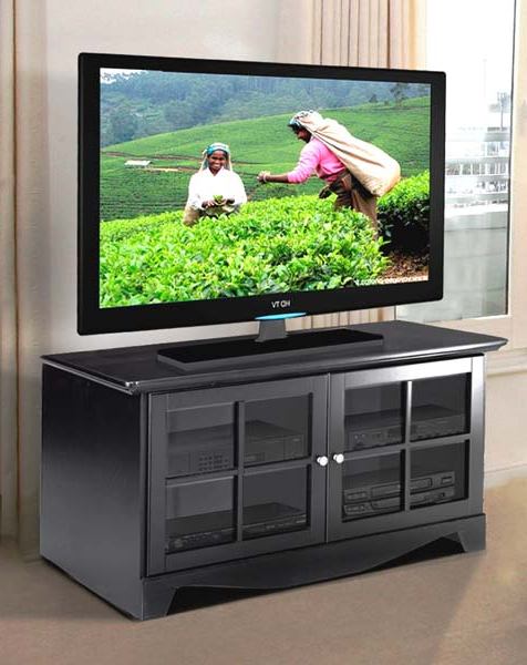 Tv Stands With Glass Doors (View 9 of 20)
