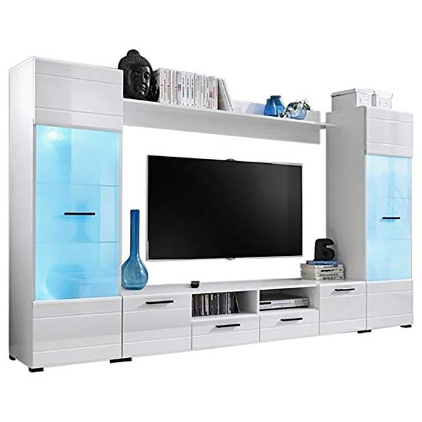 "Tv Stands With Led Lights Regarding Trendy Shop Pledger Modern Entertainment Center 65"" Tv Stand With Led (View 16 of 20)"