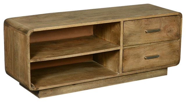 Tv Stands With Rounded Corners With Preferred Rounded Corners Mango Wood Tv Table Media Island With Side Drawers (Gallery 1 of 20)