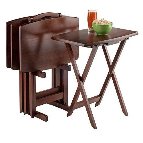 Tv Table Set 5Pc Tray Stand Curved Rectangle Wood Portable Folding Intended For Most Recent Folding Tv Trays With Stand (View 15 of 20)