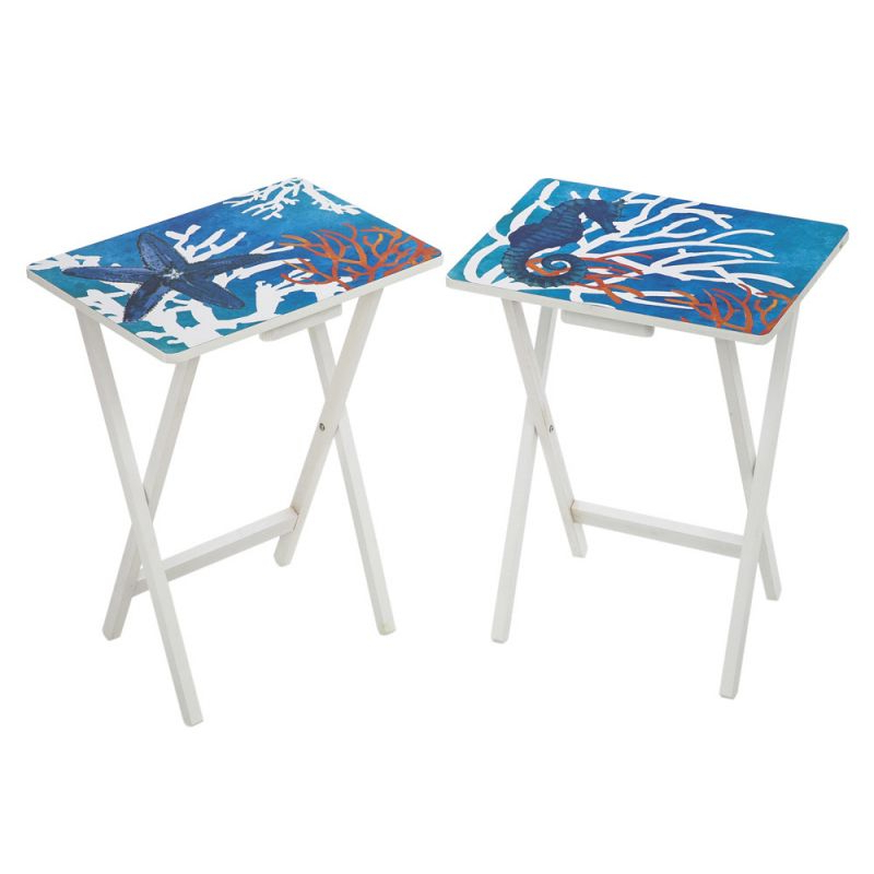 Tv Tray Set With Stands Regarding Popular Red And White Coral Pops On This Set Of 2 Tv Trays. Foldable Table (Gallery 11 of 20)