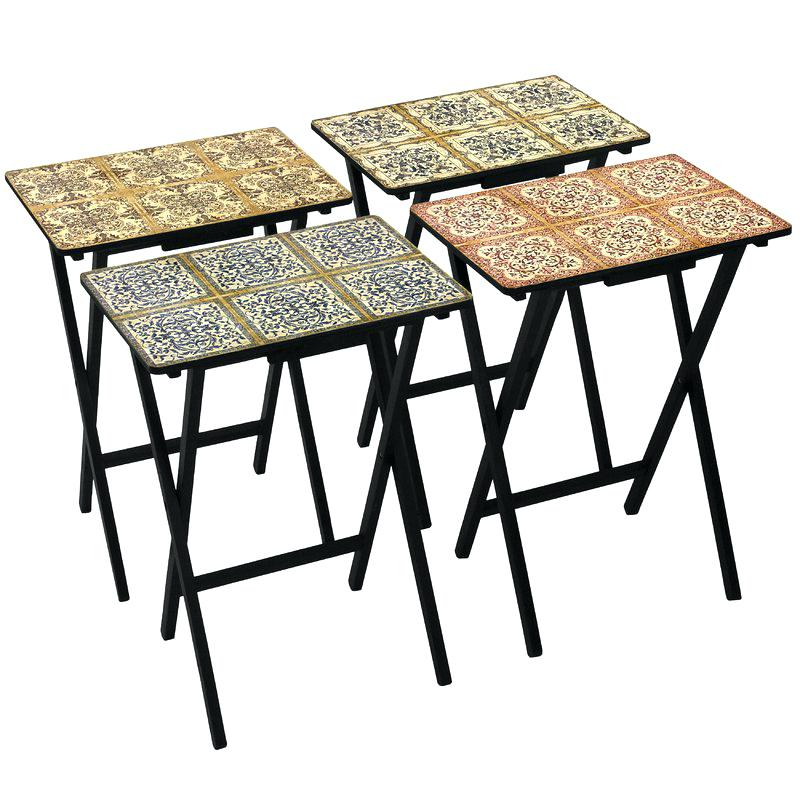 Tv Trays Stands 4 Piece Tile Tray Set With Stand Wood Tables Folding For Newest Tv Tray Set With Stands (View 18 of 20)