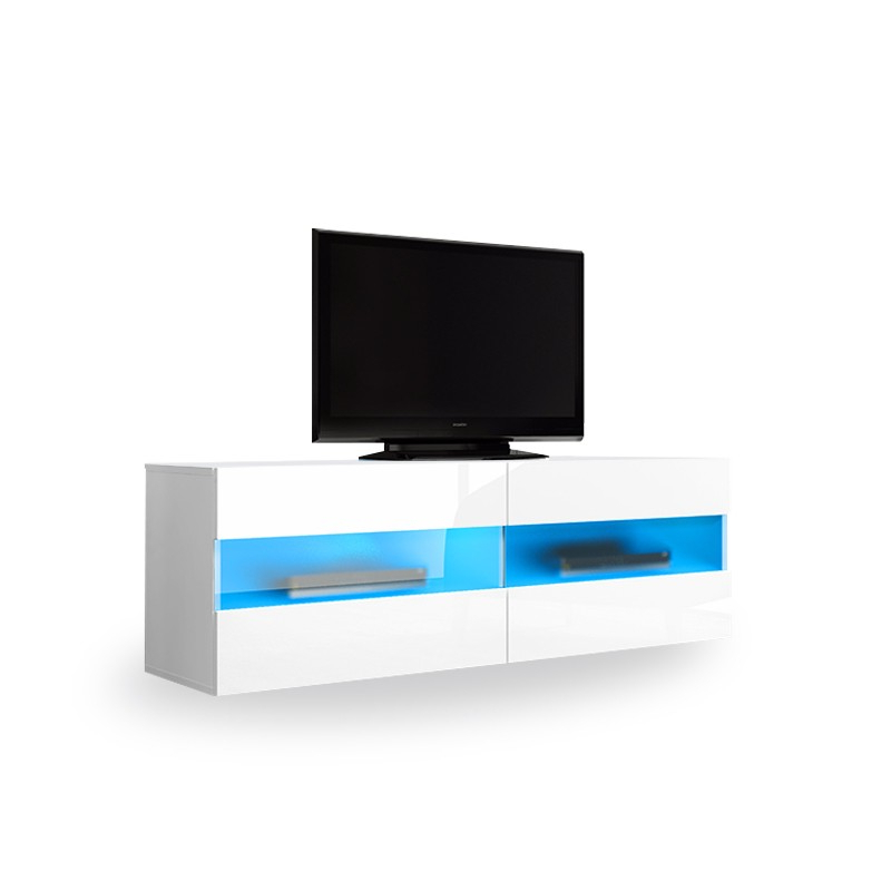 Tv Unit 100cm For Trendy Maddox Small White High Gloss Tv Stand 100cm (View 2 of 20)