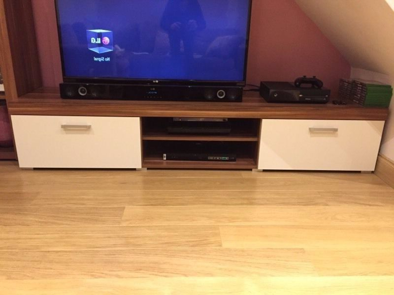 Tv Unit, Sideboard And Cabinet Livingroom Furniture Walnut And Cream With Latest Cream Tv Cabinets (View 19 of 20)
