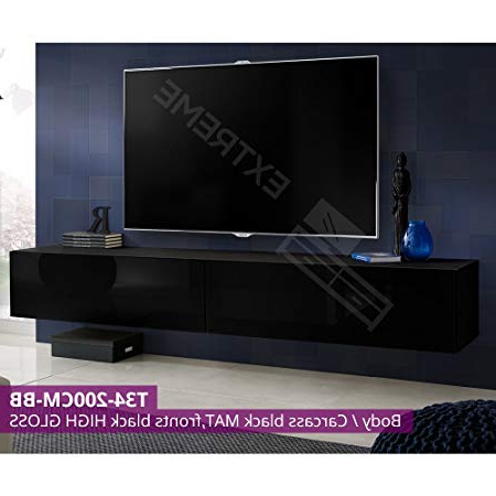 Tv Units Black Regarding Most Recent 200Cm Length Wall Hanged Units – 60' Screen – Black High Gloss (View 15 of 20)