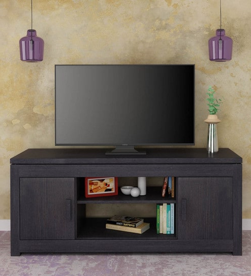 Tv Units Black Within Latest Buy Atlas Tv Unit In Black Finishroyal Oak Online – Modern Tv (View 17 of 20)