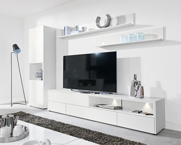 Tv Units With Storage Pertaining To Widely Used Modern Wall Storage System In Matt White Tv Unit & Tall Cabinet (Gallery 6 of 20)