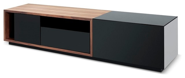 Tv047 Modern Tv Stand In Black High Gloss And Walnut Finish Intended For Newest Walnut And Black Gloss Tv Units (Gallery 1 of 20)