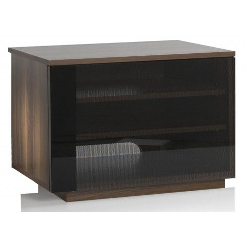 Uk Cf New Barcelona Walnut Tv Cabinet With Black Glass Door Screens Within Most Current Walnut Tv Cabinets With Doors (Gallery 17 of 20)