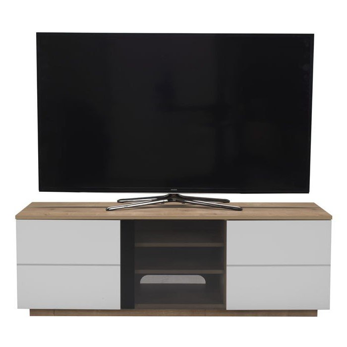 Uk Cf New London Oak And White Tv Cabinet In Recent White Tv Cabinets (View 16 of 20)
