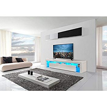 Ultra Modern Tv Stands With Regard To 2018 Tvs 8 Premium 2016 Tv Cabinet Stand With Led Lights: Amazon.co (View 18 of 20)