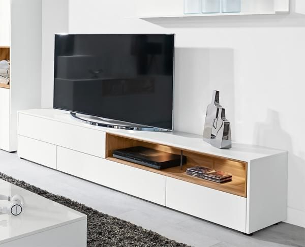 Ultra Modern Tv Stands Within Current Modern Tv Unit With 2 Doors And 2 Drawers In Ultra Matt White With (Gallery 7 of 20)