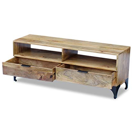Unique Tv Stands In Most Popular Amazon: Daonanba Unique Tv Stand Solid Mango Wood Stable Tv (Gallery 10 of 20)