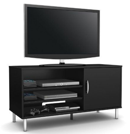 Universal 24 Inch Tv Stands Regarding Recent Skb Family Modern Tv Stand In Black Wood Finish With Metal Legs Home (Gallery 17 of 20)