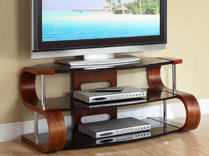 Unusual Tv Stands Throughout Well Known Contour 850 Tv Stand Walnut (Gallery 4 of 20)