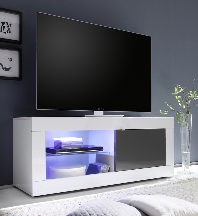 Urbino Small Tv Unit Including Led Spot Light – White And Anthracite With Trendy Small White Tv Stands (View 16 of 20)