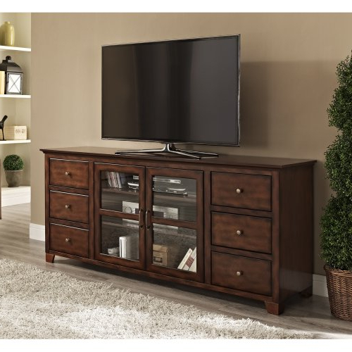 Valencia 70 Inch Tv Stands Throughout Well Liked 70 Wood Six Drawer High Boy Tv Console Buffet – Rustic Brown – Sam L (View 16 of 20)