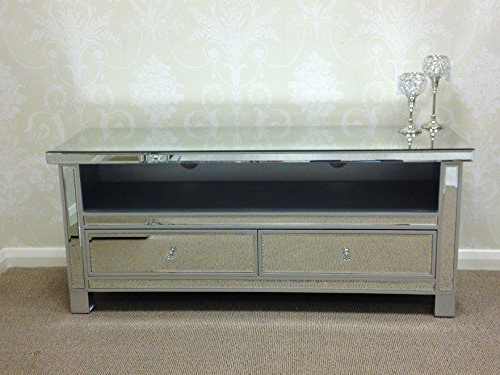 Venetian Mirrored Tv Cabinet Entertainment Unit Glass Television With Regard To Well Known Mirrored Furniture Tv Unit (View 19 of 20)