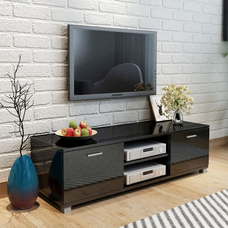 Vidaxl Black High Gloss Tv Stand Cabinet Entertainment Unit Shelf Within Popular Black Gloss Tv Stands (Gallery 8 of 20)