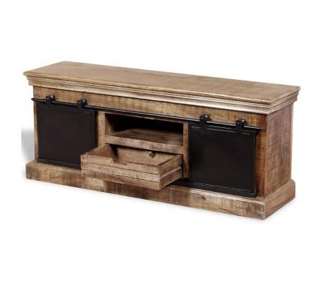 """Vidaxl Tv Cabinet With 2 Sliding Doors Solid Mango Wood 43.3"""" Throughout Famous Mango Wood Tv Cabinets (Gallery 8 of 20)"""