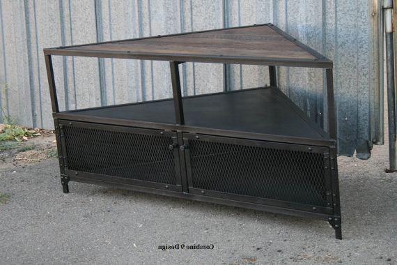 Vintage Industrial Tv Stands For Most Recently Released Corner Unit, Corner Tv Stand. Vintage Industrial Corner Cabinet (Gallery 19 of 20)
