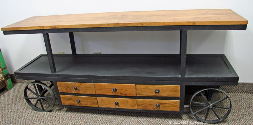 Vintage Industrial Tv Stands With Popular Ccind 149 Industrial Vintage Metal Tv Stand On Wheels (Gallery 15 of 20)