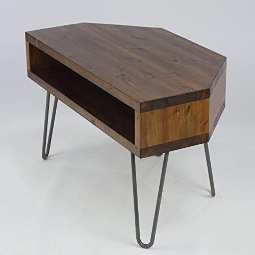 Vintage Retro Corner Corner Tv Stand W/metal Hairpin Legs Solid Wood Regarding Newest Retro Corner Tv Stands (View 4 of 20)