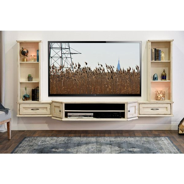 Vista 68 Inch Tv Stands Intended For Widely Used French Floating Entertainment Center Distressed Tv Stand Vintage  (View 16 of 20)