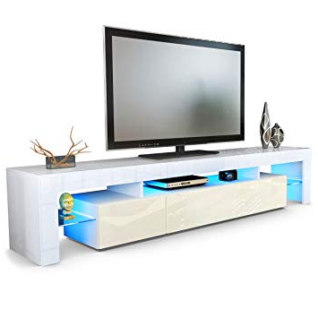 Vladon Tv Stand Unit Lima V2, Carcass In White/front In Cream High In Widely Used Cream High Gloss Tv Cabinets (Gallery 10 of 20)