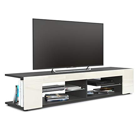 Vladon Tv Unit Stand Movie, Carcass In Black Matt/front In Cream With Most Recently Released Cream Gloss Tv Stands (Gallery 3 of 20)