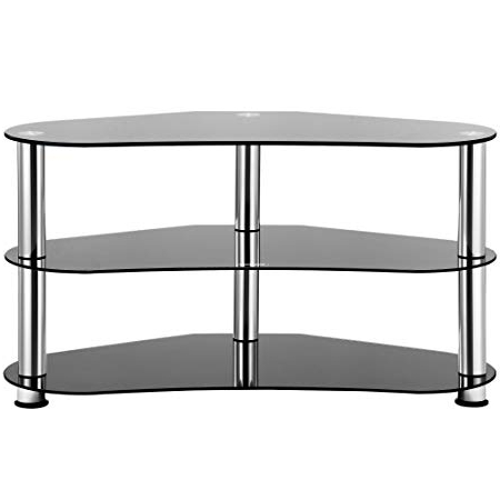 Vonhaus Black Tempered Glass Tv Stand Corner Unit With Silver Legs With Regard To Most Current Silver Corner Tv Stands (Gallery 13 of 20)