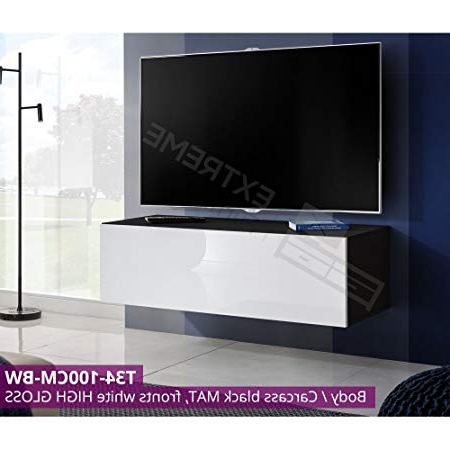 Wall Hanged Unit – 100Cm Tv Cabinet – Pusktoopen – Glossy Fronts – Gas  Strut Lid – ✔Free&fast Delivery – ✔Uk Seller – T34 100Cm / Bw For Current Tv Unit 100Cm (View 17 of 20)