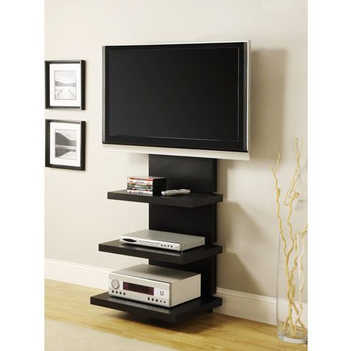 "Wall Mounted Tv Stands With Shelves For Latest Wall Mount Tv Stand With 3 Shelves, Black, For Tvs 37"" To 60"" (View 13 of 20)"