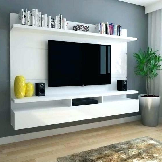 Wall Mounted Tv Stands With Shelves Intended For Newest Decoration: Wall Mounted Console Mount Furniture Design New Shelves (View 14 of 20)