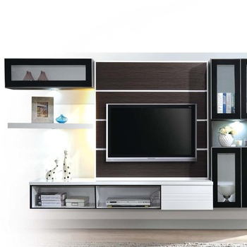 Wall Mounting Tv Console With Display Cabinet And Floating Shelf Intended For Favorite Tv Display Cabinets (View 18 of 20)